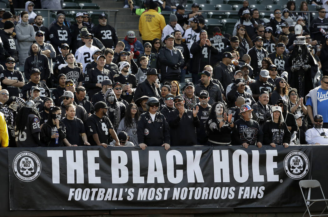 Oakland Raiders fans in the Black Hole before an NFL football game between the Oakland Raiders and the Carolina Panthers in Oakland, Calif., Sunday, Nov. 27, 2016. (AP Photo/Marcio Jose Sanchez)