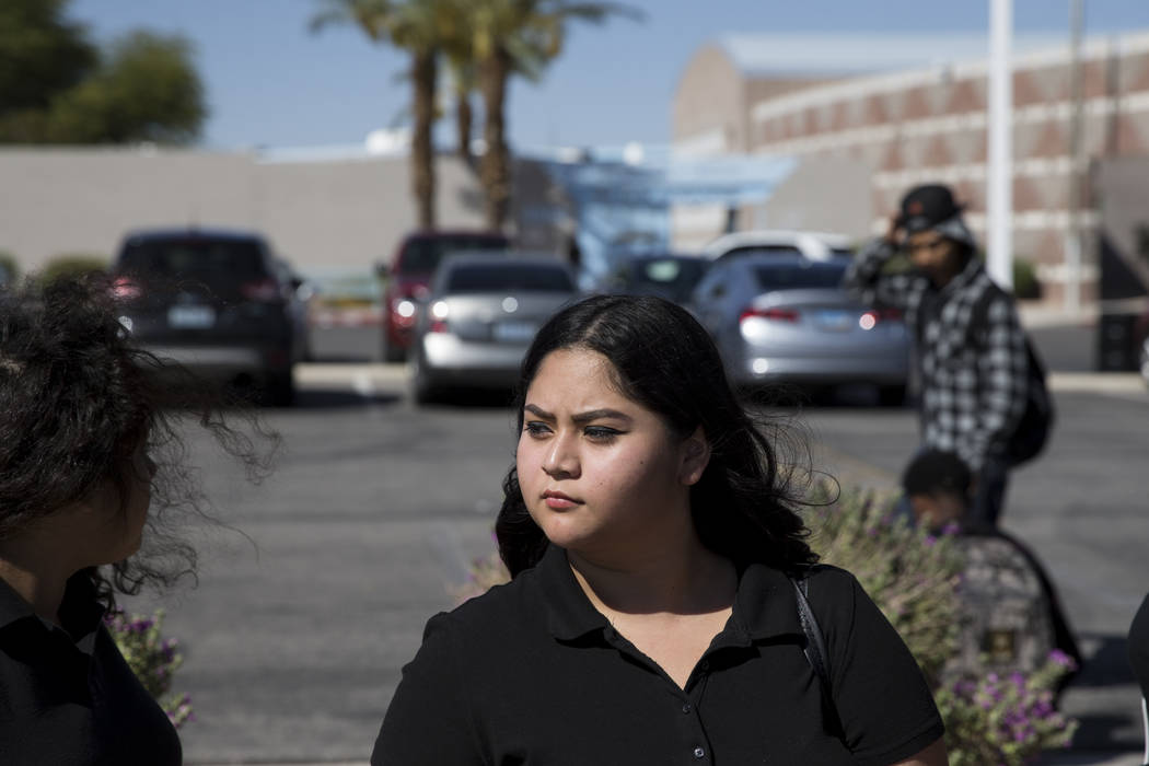 Itzel Mejia, 17, student concerned about budget cuts at Burk Horizon High School, outside of her school in Las Vegas, Wednesday, Sept. 20, 2017. The school is facing budget cuts that threatens to  ...