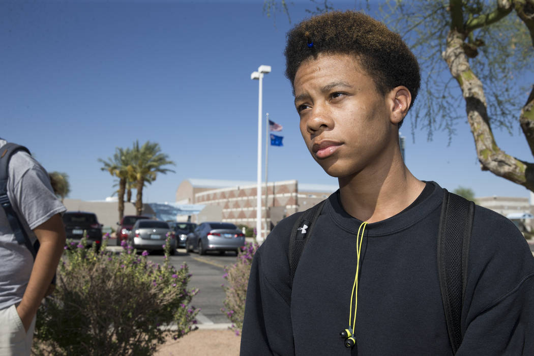 Naseem Evans, 18, student concerned about budget cuts at Burk Horizon High School, is interviewed outside of his school in Las Vegas, Wednesday, Sept. 20, 2017. The school is facing budget cuts th ...