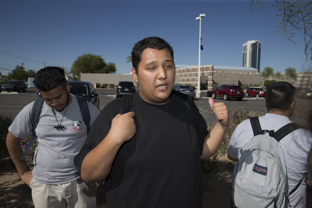 Trace Del Pino, 18, student concerned about budget cuts at Burk Horizon High School, is interviewed outside of his school in Las Vegas, Wednesday, Sept. 20, 2017. The school is facing budget cuts  ...
