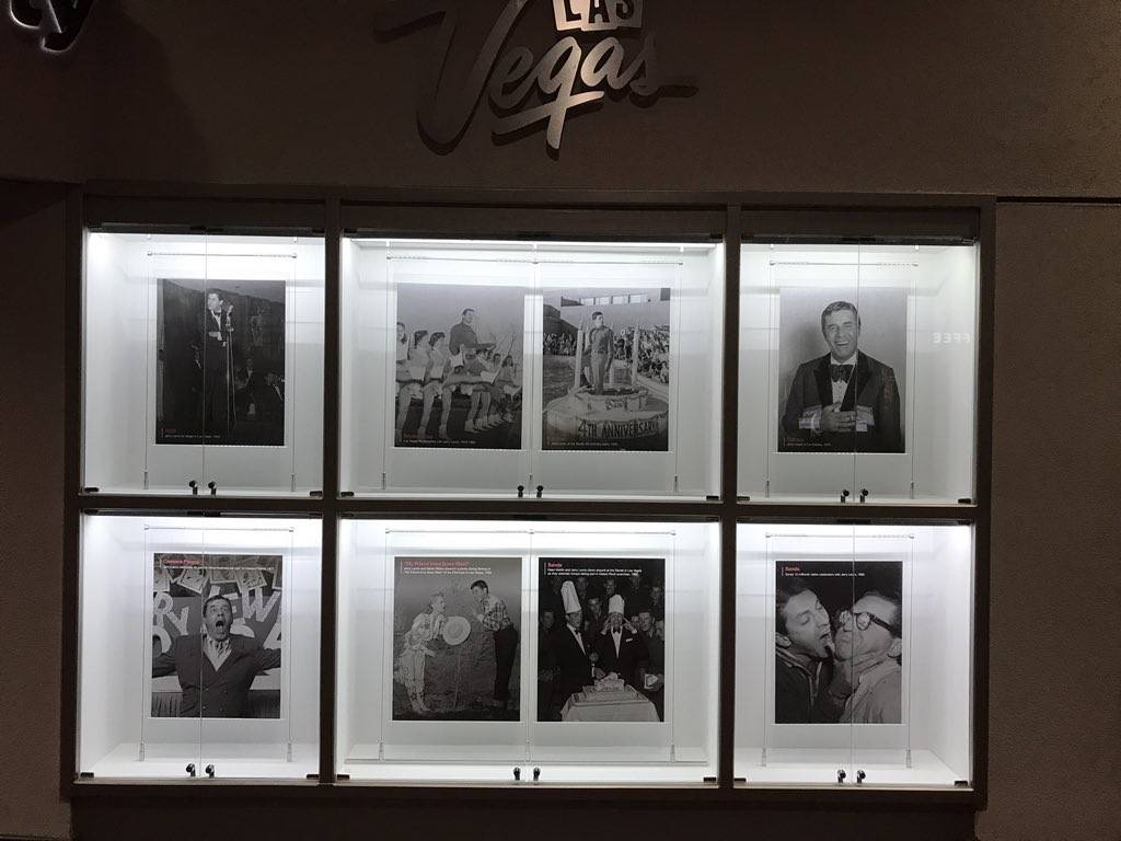 A photographic tribute to the late comedy icon Jerry Lewis is on display in the Las Vegas Convention Center administration offices display case on Aug. 23, 2017. Jerry Lewis died at his Las Vegas  ...