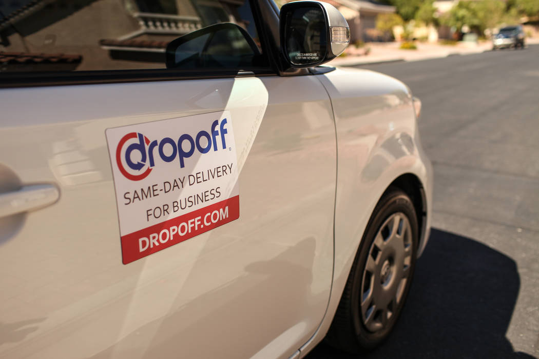 Same-day delivery service Dropoff launches in Las Vegas Tuesday. The company soft launched in Las Vegas Tuesday, Sept. 12, 2017 with Sprinkles. Dropoff drivers wear a uniform and attach a magnet t ...