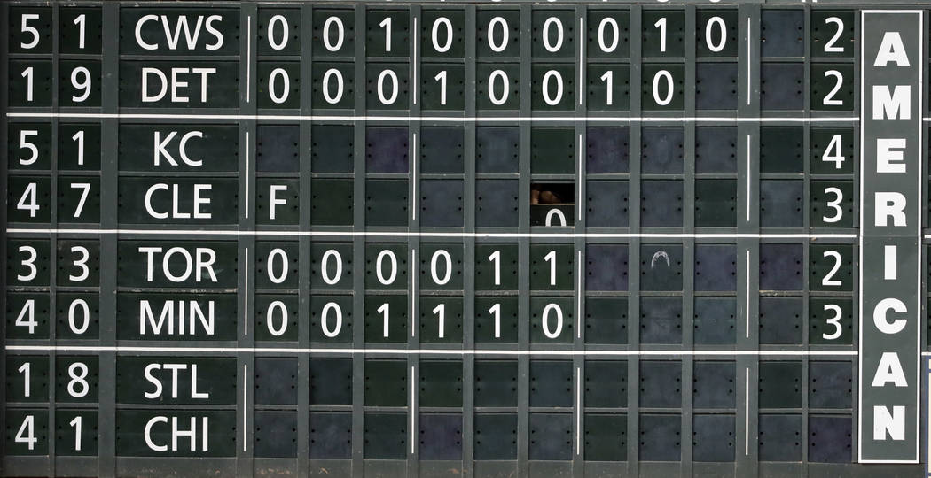 The final score of the Kansas City Royals and Cleveland Indians baseball game is posted on the scoreboard at Minute Maid Park as the Seattle Mariners play the Houston Astros Friday, Sept. 15, 2017 ...