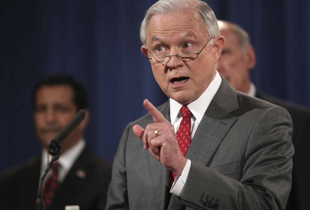 U.S. Attorney General Jeff Sessions speaks at a news conference last month at the Justice Department in Washington. (AP Andrew Harnik File)