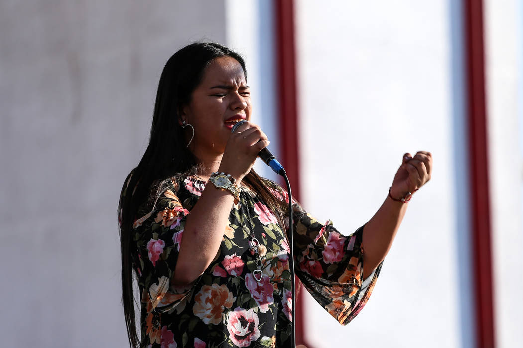 Stephanie Espinosa sings during a Mexican Independence Day celebration in North Las Vegas, Saturday, Sept. 16, 2017. Joel Angel Juarez Las Vegas Review-Journal @jajuarezphoto