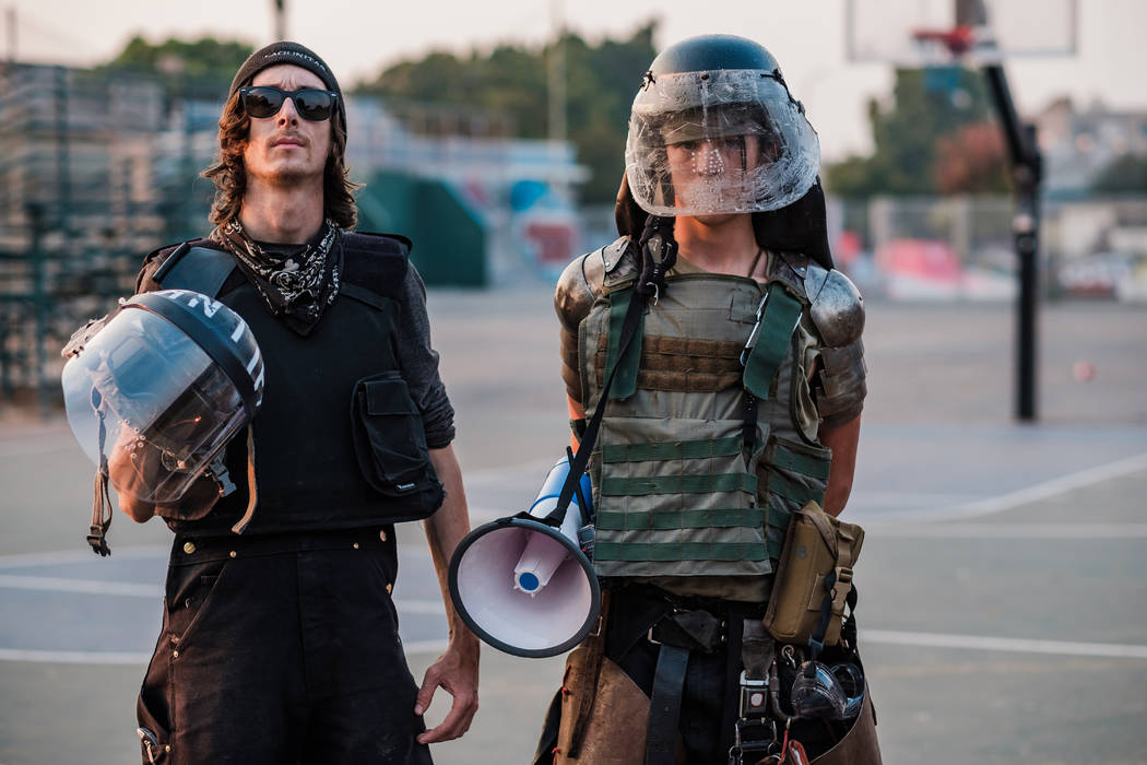 John Cookenboo, left, and Vincent Yochelson are antifa members in Northern California. The Bay Area natives began protesting against racism in 2009. (Photo by Nick Otto for The Washington Post)