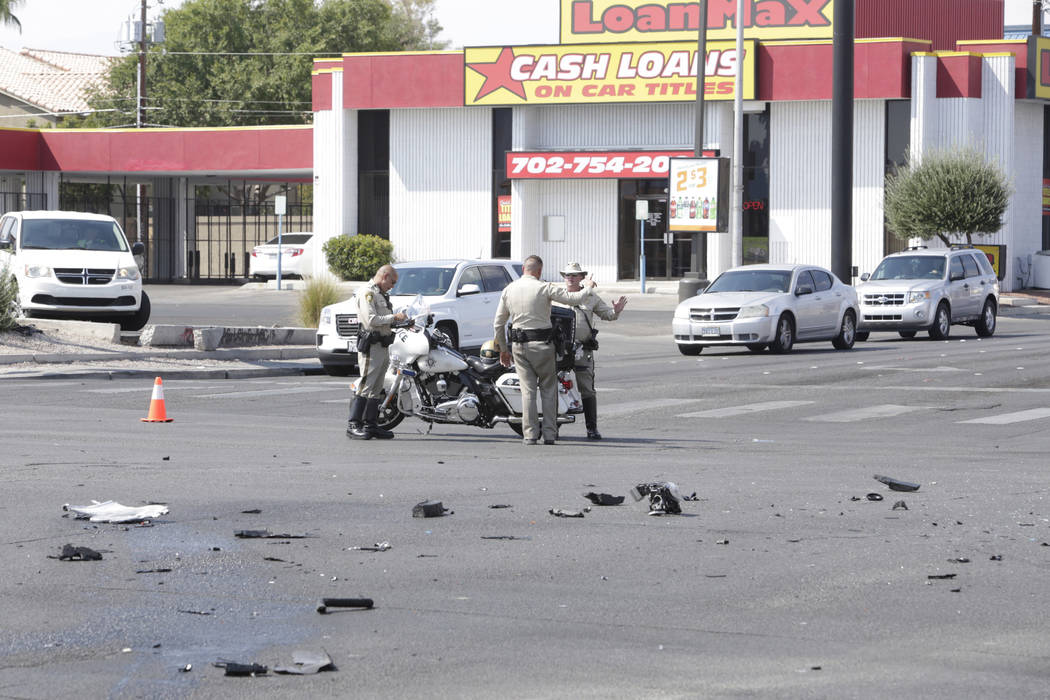 There is a police presence at the site of an accident at the intersection of Decatur Boulevard and Spring Mountain Road in Las Vegas, Saturday, Sept. 16, 2017. Gabriella Angotti-Jones Las Vegas Re ...