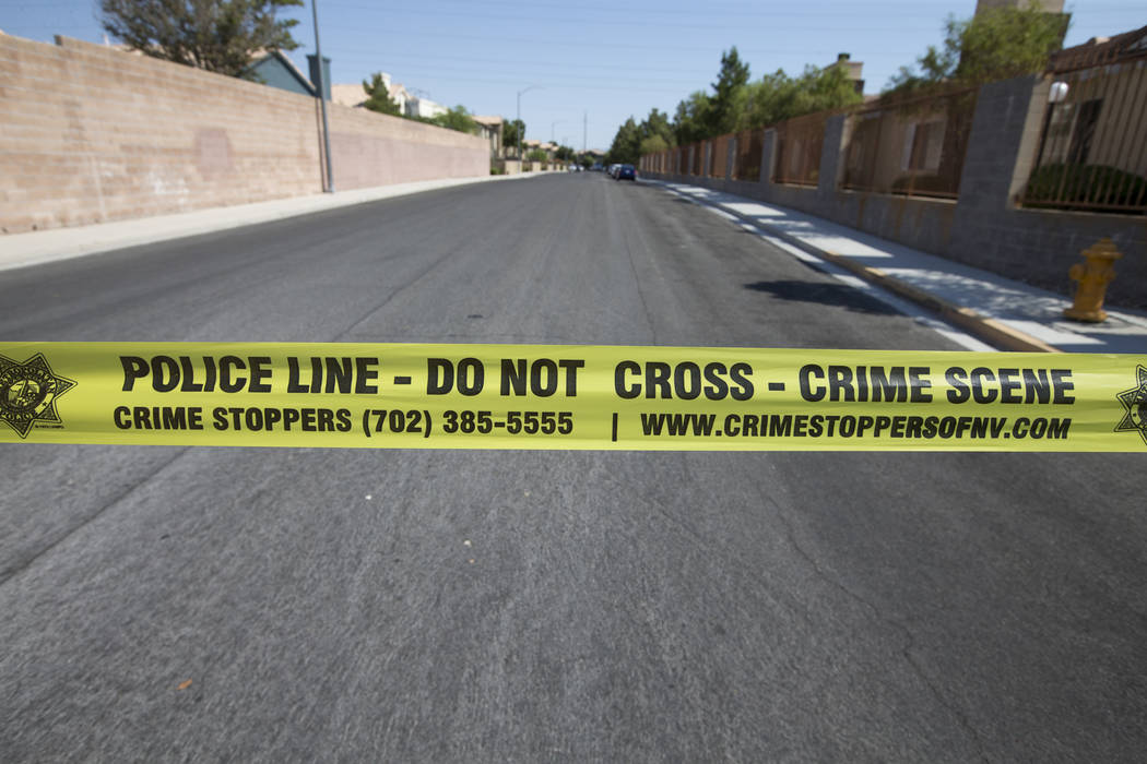Officers responded at about 7 a.m. to the 300 block of West Lake Mead Boulevard, near Losee Road, for reports of a robbery. Richard Brian Las Vegas Review-Journal @vegasphotograph