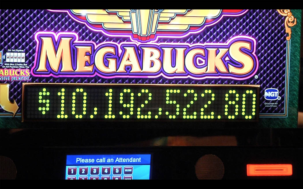 Megabucks slot machine displays $10,192,522.80 jackpot won by local Henderson man at Fiesta Henderson on Saturday, Sept. 16, 2017. Michael Quine Las Vegas Review-Journal @Vegas88s