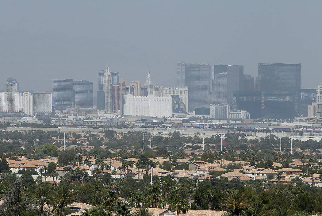 A haze over the Las Vegas Valley is seen in 2013. (Las Vegas Review-Journal)