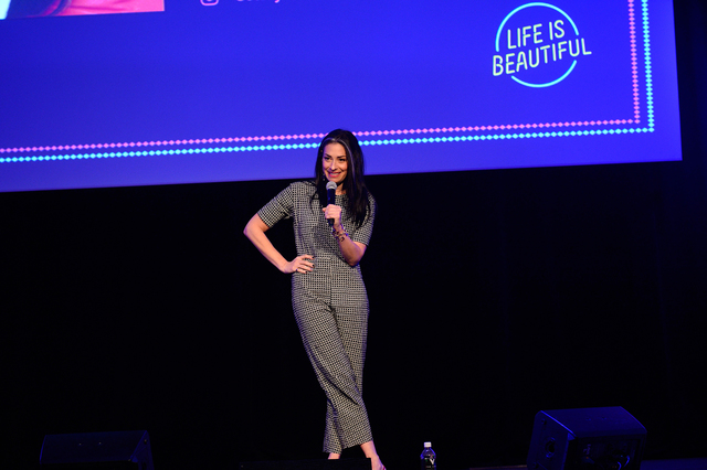 Stacy London speaks onstage at Ideas @Venue Vegas during Day 1 of the 2016 Life Is Beautiful Music and Art Festival on Friday, Sept. 23, 2016, in Downtown Las Vegas. (2016 Life Is Beautiful)