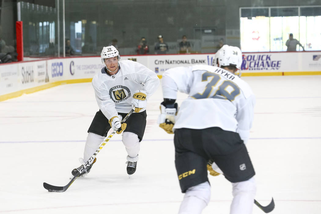 Vegas Golden Knights' Chris Casto, left, passes to teammate Tomas Hyka in a scrimmage during team practice at the City National Arena on Friday, Sept. 15, 2017, in Las Vegas. Richard Brian Las Veg ...