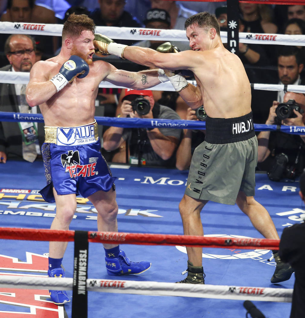 "Saul ""Canelo"" Alvarez, left, fights Gennady ҇GGӠGolovkin during their middleweight championship boxing match at T-Mobile Arena in Las Vegas on Saturday, Sept. 16, 201 ..."