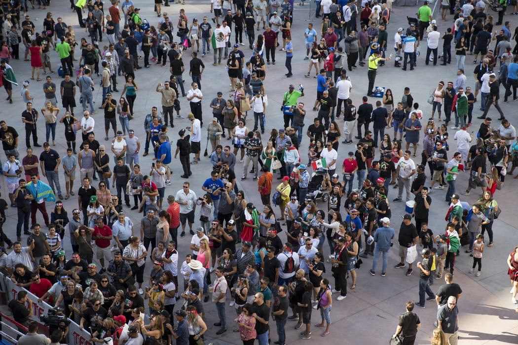 Fans outside of T-Mobile Arena in Las Vegas where Saul Canelo Alvarez and Gennady GGG Golovkin at scheduled to fight in a championship bout, Saturday, Sept. 16, 2017. Erik Verduzco Las Vegas Revie ...