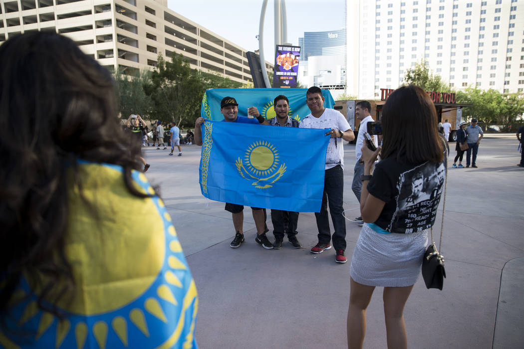 Boxing fans Abraham Lara, from left, with his friends Javier Salomon, and Gilberto Mendez, outside of T-Mobile Arena in Las Vegas where Saul Canelo Alvarez and Gennady GGG Golovkin at scheduled to ...