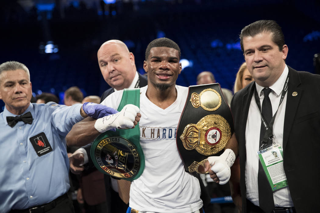 Ryan Martin celebrates his split decision victory against Francisco Rojo in the lightweight bout at T-Mobile Arena in Las Vegas, Saturday, Sept. 16, 2017. Erik Verduzco Las Vegas Review-Journal @E ...