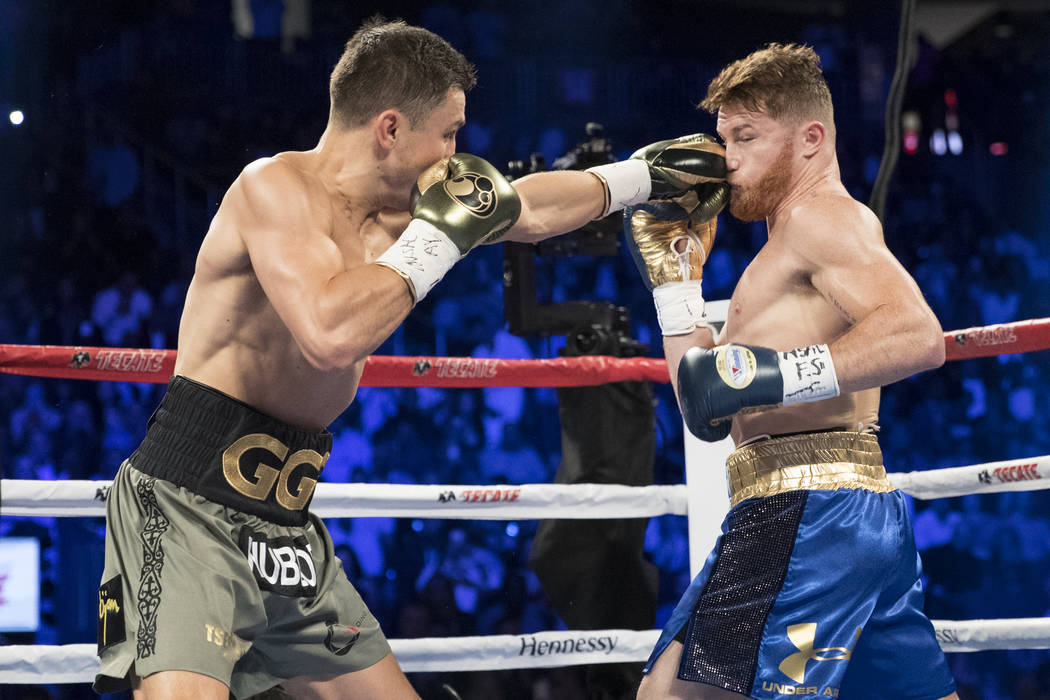 Gennady GGG Golovkin battles Gennady GGG Golovkin in the WBC, WBA, IBF, RING middleweight title bout at T-Mobile Arena in Las Vegas, Saturday, Sept. 16, 2017. The fight ended in a draw. Erik Verdu ...