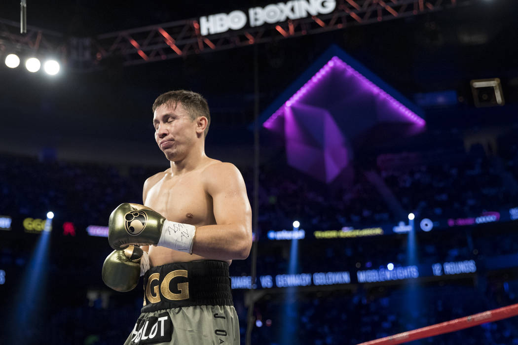 Gennady GGG Golovkin walks to his corner in between rounds of his fight against Saul Canelo Alvarez in the WBC, WBA, IBF, RING middleweight title bout at T-Mobile Arena in Las Vegas, Saturday, Sep ...
