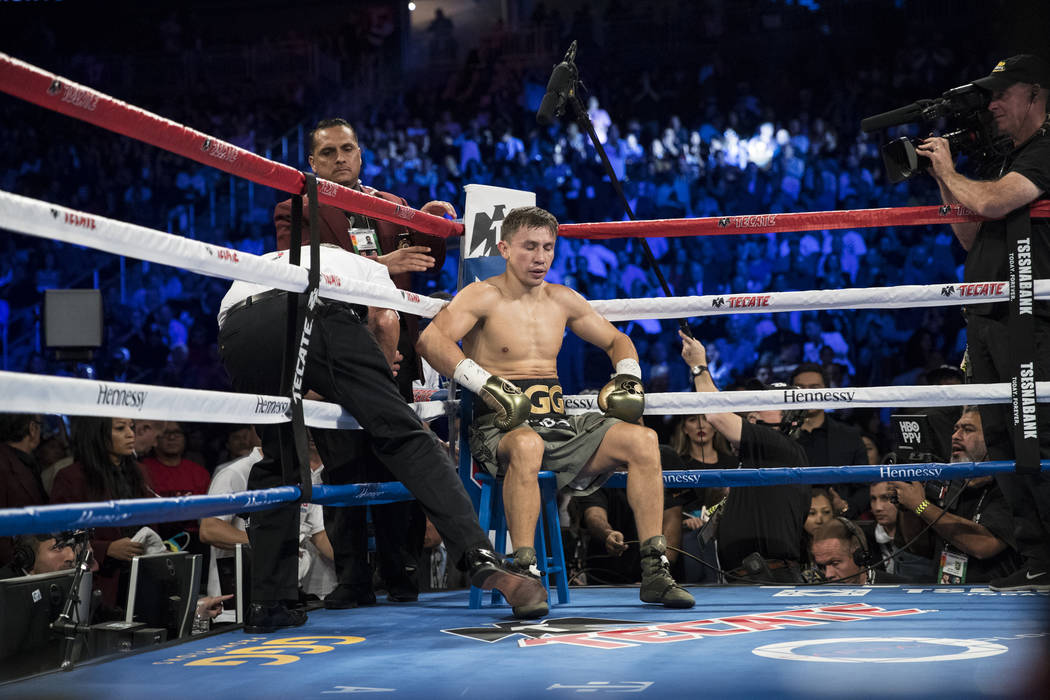 Gennady GGG Golovkin at his corner in between rounds of his fight against Saul Canelo Alvarez in the WBC, WBA, IBF, RING middleweight title bout at T-Mobile Arena in Las Vegas, Saturday, Sept. 16, ...