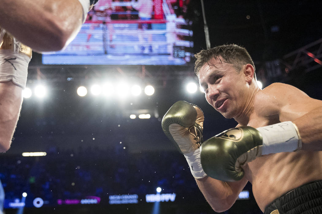 Gennady GGG Golovkin, right, battles Saul Canelo Alvarez in the WBC, WBA, IBF, RING middleweight title bout at T-Mobile Arena in Las Vegas, Saturday, Sept. 16, 2017. The fight ended in a draw. Eri ...