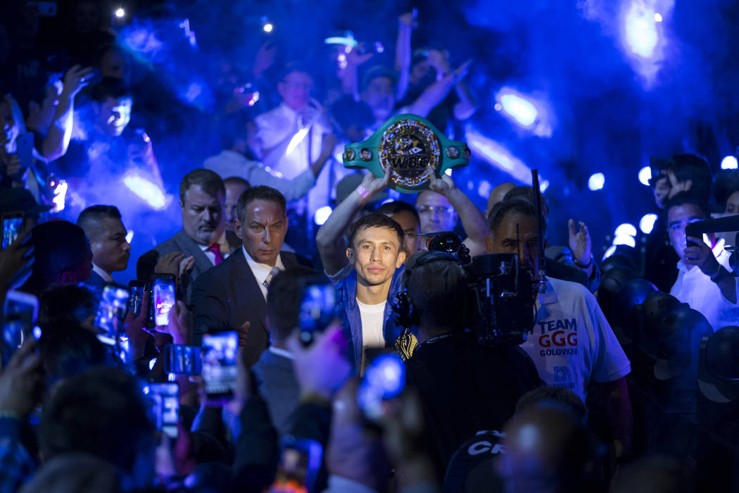 Gennady GGG Golovkin makes his way to the ring for his fight against Saul Canelo Alvarez in the WBC, WBA, IBF, RING middleweight title bout at T-Mobile Arena in Las Vegas, Saturday, Sept. 16, 2017 ...
