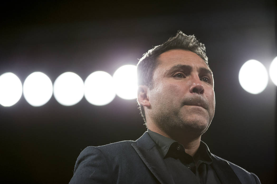 Oscar De La Hoya, boxing promoter for Saul Canelo Alvarez, during a press conference following Alvarez's fight against Gennady GGG Golovkin in the WBC, WBA, IBF, RING middleweight title bout at T- ...