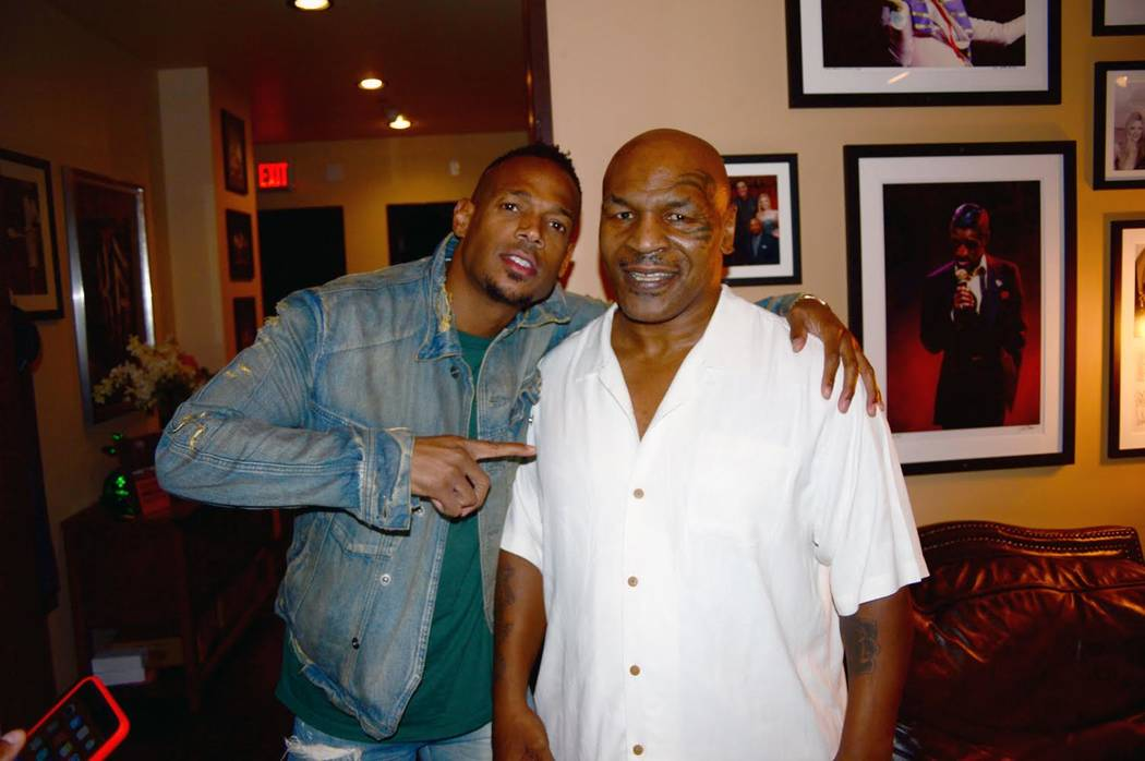 Comic actor Damon Wayans meets with Mike Tyson at Brad Garrett's Comedy Club on Friday, Sept. 15, 2017. (PR Plus)