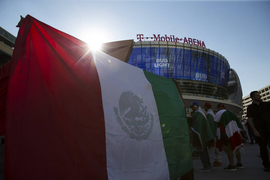 A Mexican flag outside of T-Mobile Arena in Las Vegas where Saul Canelo Alvarez and Gennady GGG Golovkin at scheduled to fight in a championship bout, Saturday, Sept. 16, 2017. Erik Verduzco Las V ...