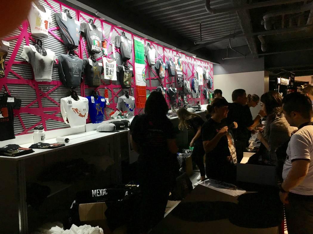 "A merchandise stand is shown at T-Mobile Arena for the Canelo Alvarez-Gennady ""GGG"" Golovkin bout on Saturday, Sept. 16, 2017. (John Katsilometes/Las Vegas Review-Journal) @JohnnyKats"