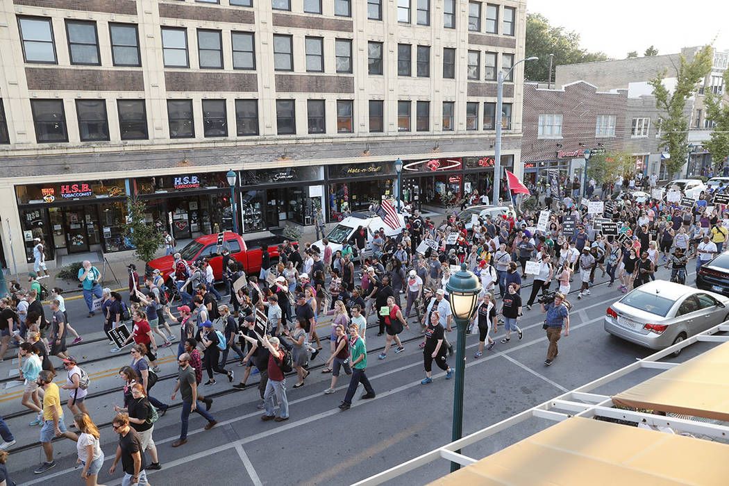 Protesters gather on a street in St. Louis, Mo., on Saturday, Sept. 16, 2017, in response to a not guilty verdict in the trial of former St. Louis Police officer Jason Stockley. (AP Photo/Jeff Rob ...