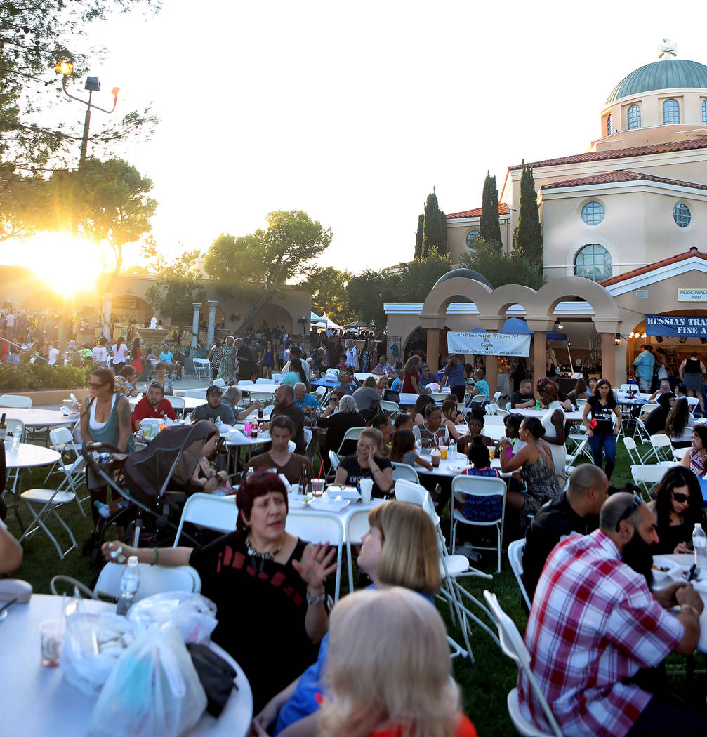 People mingle and eat during the 45th annual Greek Food Fest at St. John the Baptist Greek Orthodox Church in Las Vegas, Sunday, Sept. 17, 2017. Elizabeth Brumley Las Vegas Review-Journal
