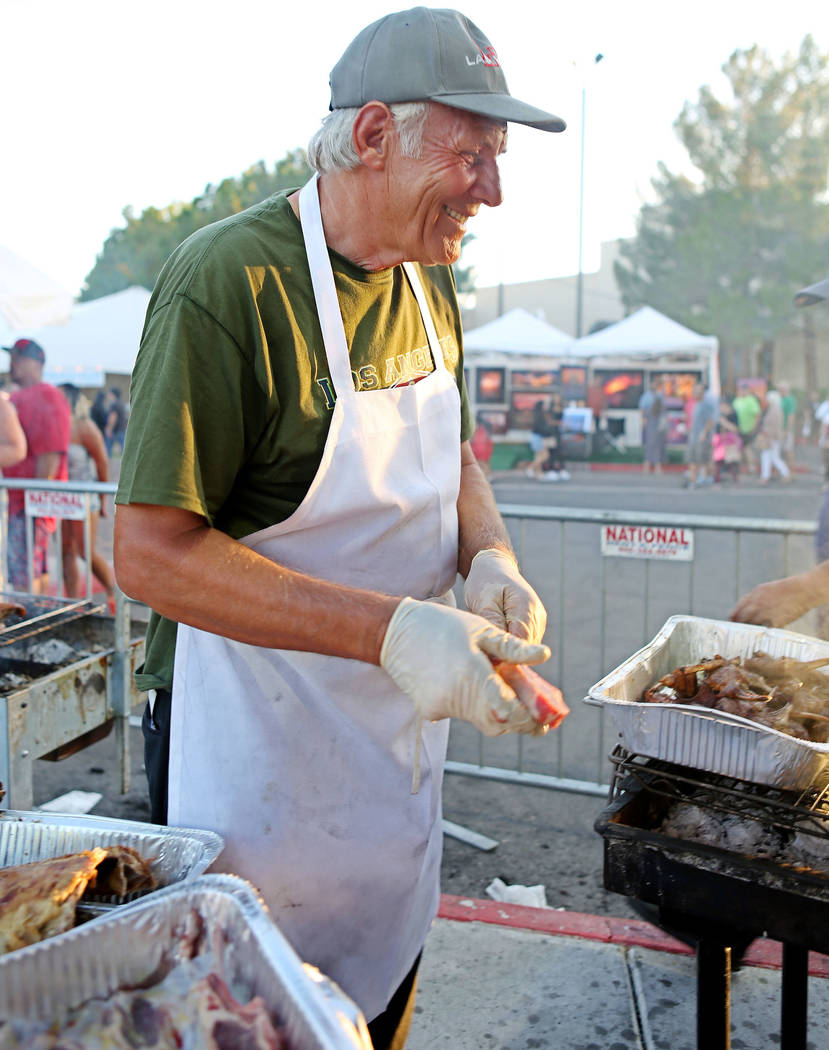 John Ziogas, a member of St. John the Baptist Greek Orthodox Church, cooks lamb to fundraise for the church during the 45th annual Greek Food Fest in Las Vegas, Sunday, Sept. 17, 2017. Elizabeth B ...