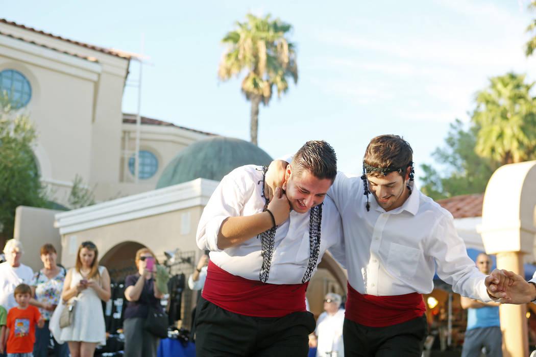 Greek Dancers Nikolas Pouridis, left, and Jonathan Liaos perform during the 45th annual Greek Food Fest at St. John the Baptist Greek Orthodox Church in Las Vegas, Sunday, Sept. 17, 2017. Elizabet ...
