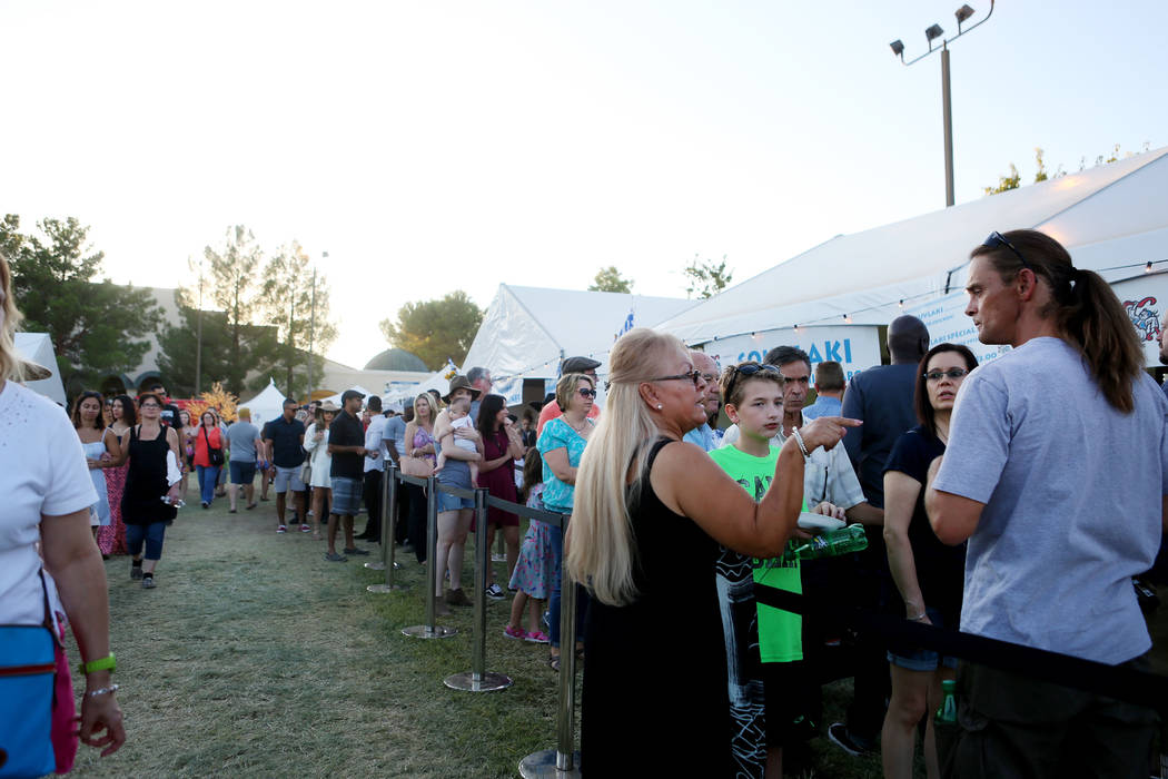 People wait in lines for Greek food during the 45th annual Greek Food Fest at St. John the Baptist Greek Orthodox Church in Las Vegas, Sunday, Sept. 17, 2017. Elizabeth Brumley Las Vegas Review-Jo ...