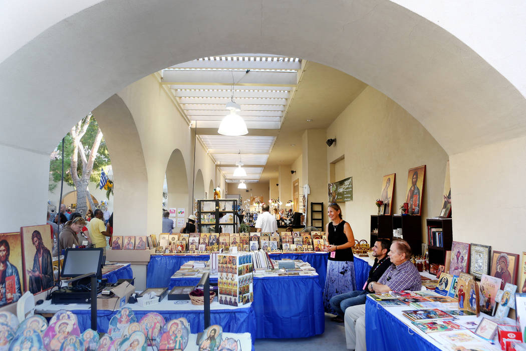 Gifts and art booths during the 45th annual Greek Food Fest at St. John the Baptist Greek Orthodox Church in Las Vegas, Sunday, Sept. 17, 2017. Elizabeth Brumley Las Vegas Review-Journal