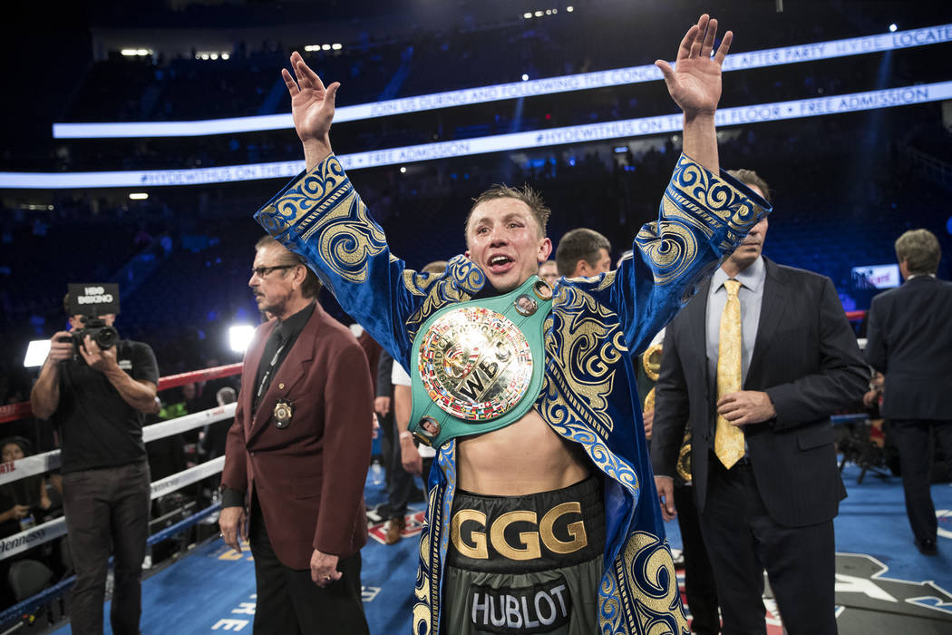 Gennady GGG Golovkin reacts after his fight against Saul Canelo Alvarez in the WBC, WBA, IBF, RING middleweight title bout at T-Mobile Arena in Las Vegas, Saturday, Sept. 16, 2017. The fight ended ...