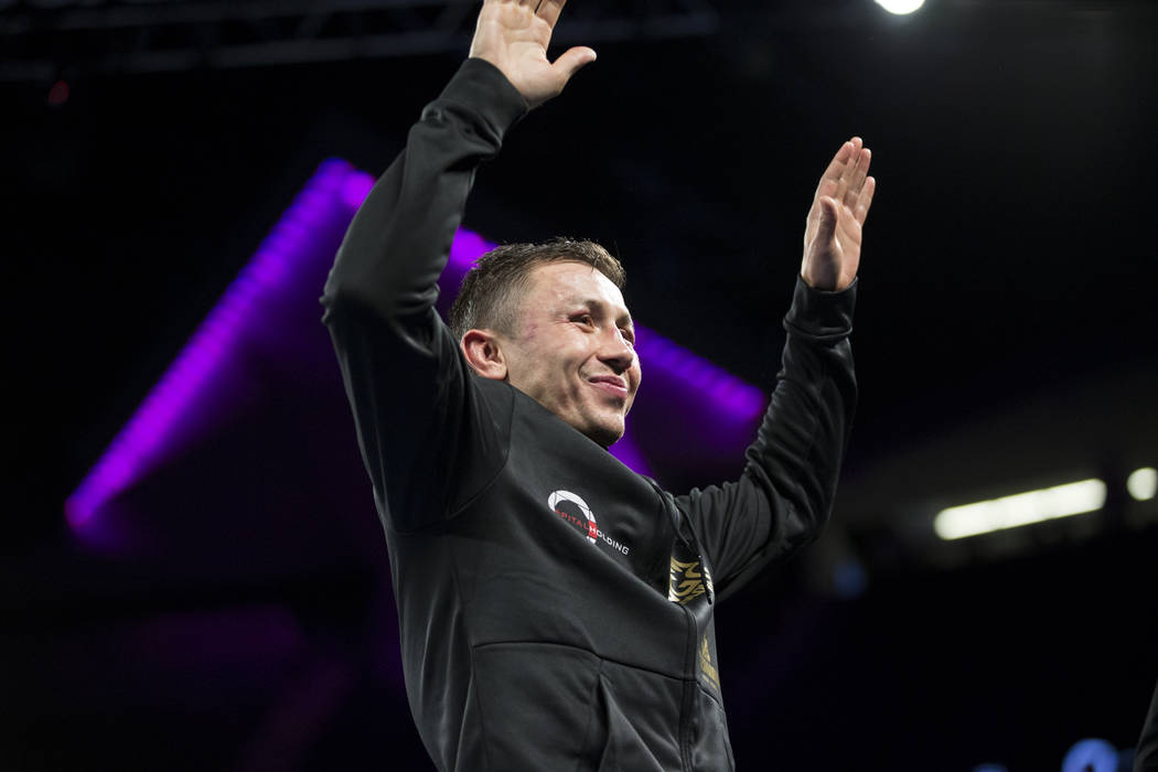 Gennady GGG Golovkin during a press conference following his fight against Saul Canelo Alvarez in the WBC, WBA, IBF, RING middleweight title bout at T-Mobile Arena in Las Vegas, Saturday, Sept. 16 ...
