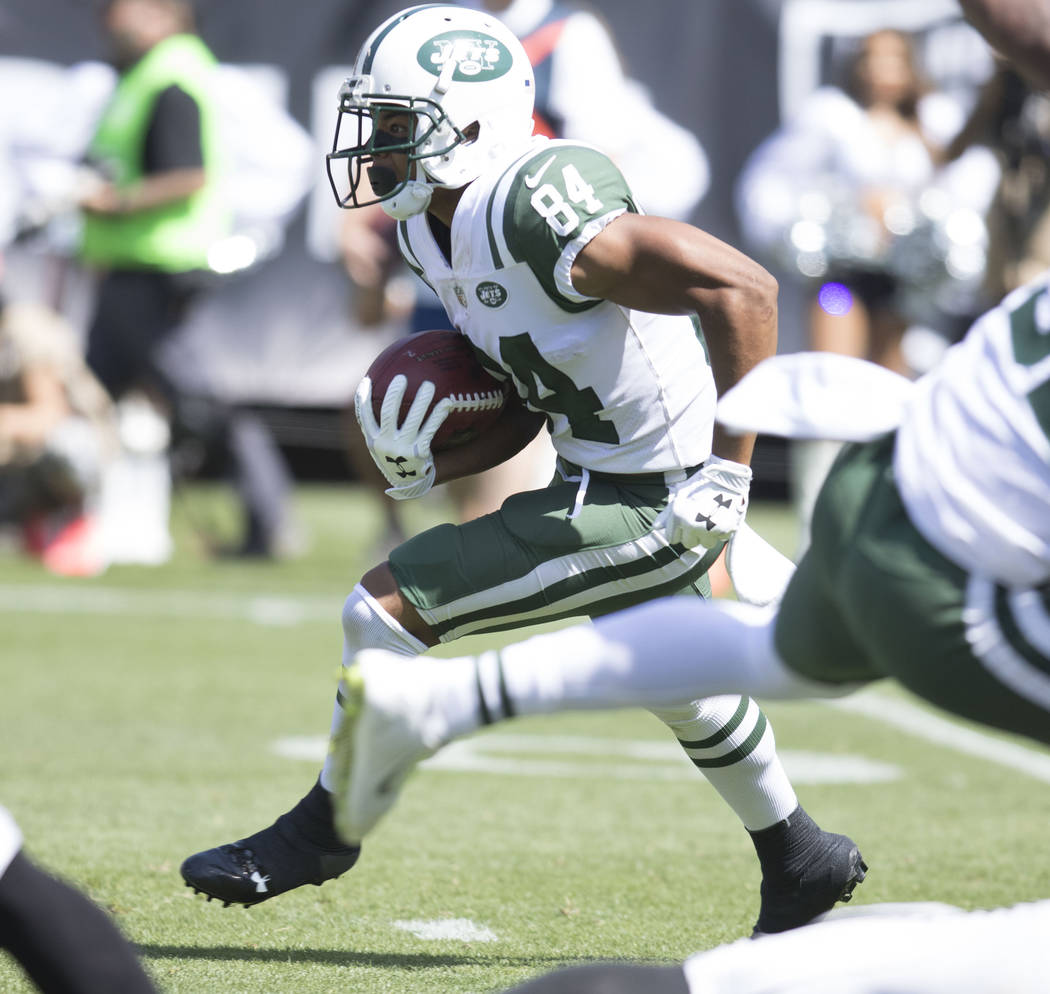 New York Jets wide receiver Kalif Raymond (84) returns the football in the first half of their game against the Raiders in Oakland, Calif., Sunday, Sept. 17, 2017. Heidi Fang Las Vegas Review-Jour ...