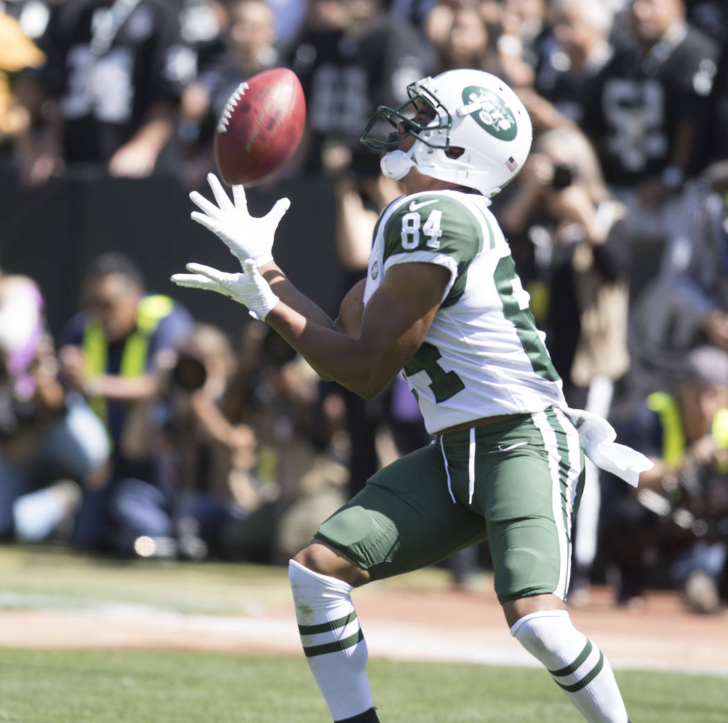 New York Jets wide receiver Kalif Raymond (84) catches the football in the first half of their game against the Raiders in Oakland, Calif., Sunday, Sept. 17, 2017. Heidi Fang Las Vegas Review-Jour ...
