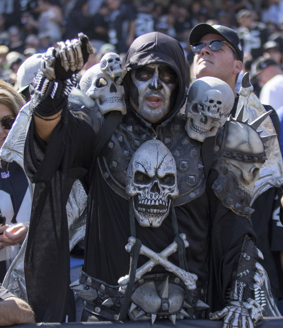 An Oakland Raider fan in the first half of the team's game against the New York Jets in Oakland, Calif., Sunday, Sept. 17, 2017. Heidi Fang Las Vegas Review-Journal @HeidiFang