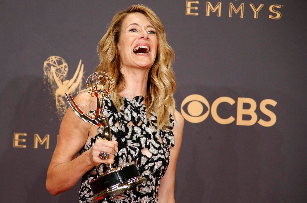 69th Primetime Emmy Awards – Photo Room – Los Angeles, California, U.S., 17/09/2017 - Laura Dern holds her Emmy for Outstanding Supporting Actress in a Limited Series or Movie for &a ...
