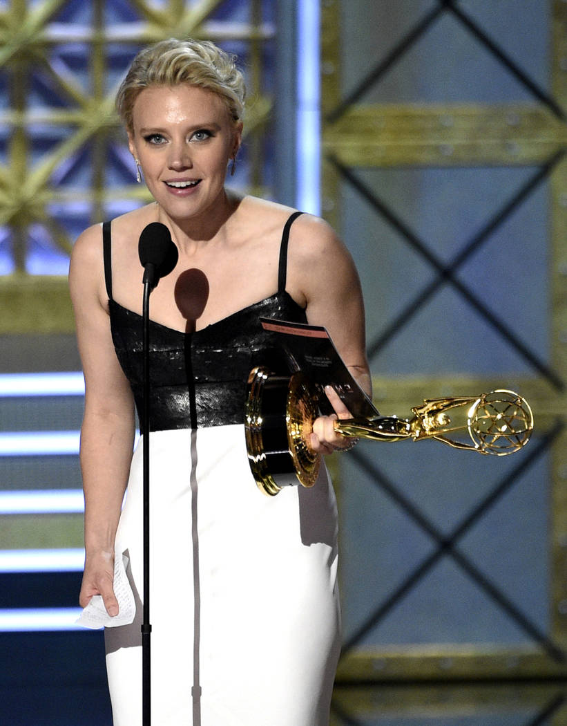"Kate McKinnon accepts the award for outstanding supporting actress in a comedy series for ""Saturday Night Live"" at the 69th Primetime Emmy Awards on Sunday, Sept. 17, 2017, at th ..."