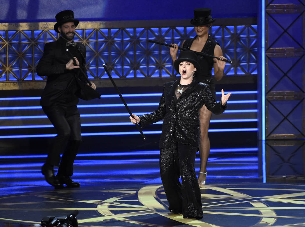 Rachel Bloom performs during a musical dance number introducing the accountants from Ernst & Young at the 69th Primetime Emmy Awards on Sunday, Sept. 17, 2017, at the Microsoft Theater in Los  ...