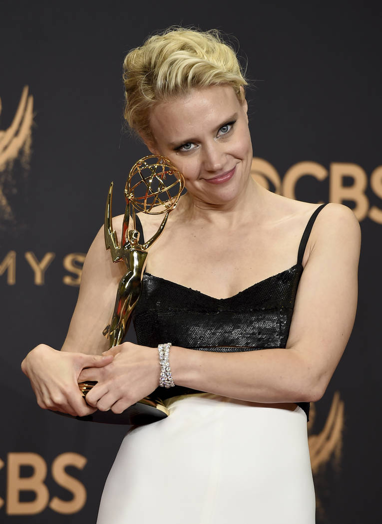 "Kate McKinnon poses in the press room with the award for outstanding supporting actress in a comedy series for ""Saturday Night Live"" at the 69th Primetime Emmy Awards on Sunday,  ..."
