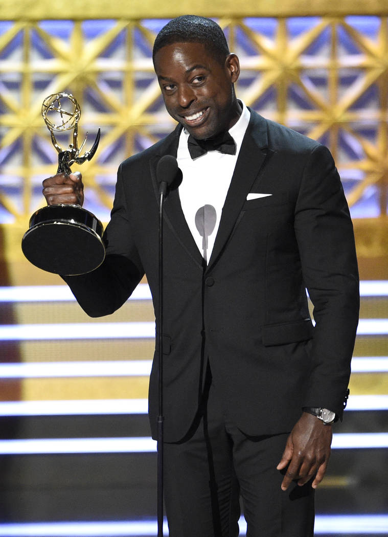 "Sterling K. Brown accepts the award for outstanding lead actor in a drama series for ""This Is Us"" at the 69th Primetime Emmy Awards on Sunday, Sept. 17, 2017, at the Microsoft Th ..."