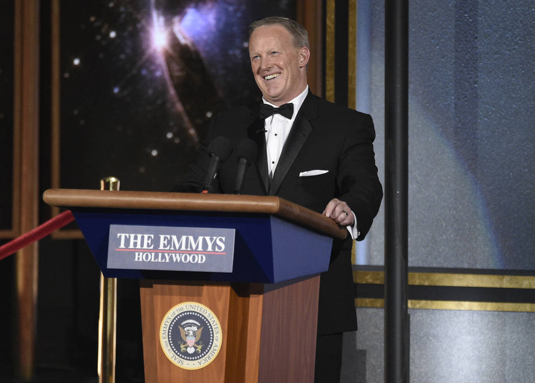 Sean Spicer speaks at the 69th Primetime Emmy Awards on Sunday, Sept. 17, 2017, at the Microsoft Theater in Los Angeles. (Chris Pizzello/Invision/AP)