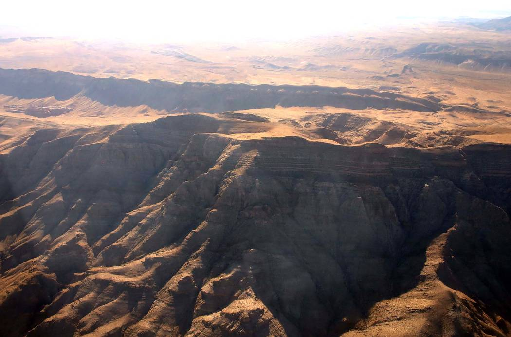 An aerial photo of Tramp Ridge in Gold Butte National Monument on Friday, July 21, 2017. Gold Butte is the name for both a mountain peak and nearby ghost town in the eastern hook of Clark County.  ...
