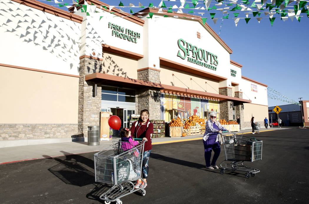 Alvina Andrzejewski and her 1-year-old son Chloe leave a newly opened Sprouts Farmers Market at 8441 Farm Road in Las Vegas on Wednesday Sept. 27, 2017. Bizuayehu Tesfaye Las Vegas Review-Journal  ...