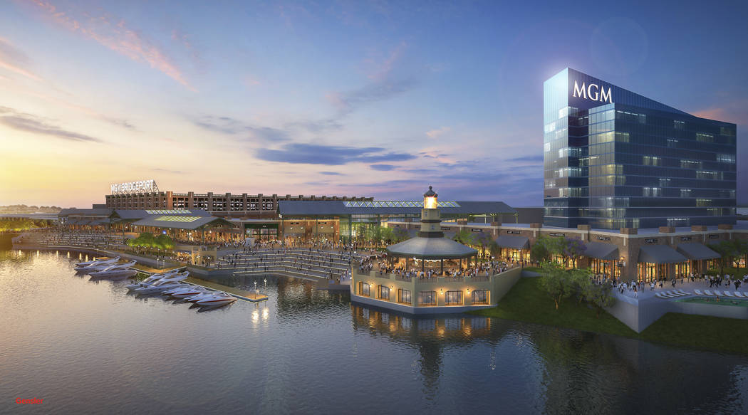 This image provided by MGM Resorts International shows an architectural rendering of a casino proposed for Bridgeport, Conn., announced on Monday, Sept. 18, 2017, by MGM Resorts International and  ...