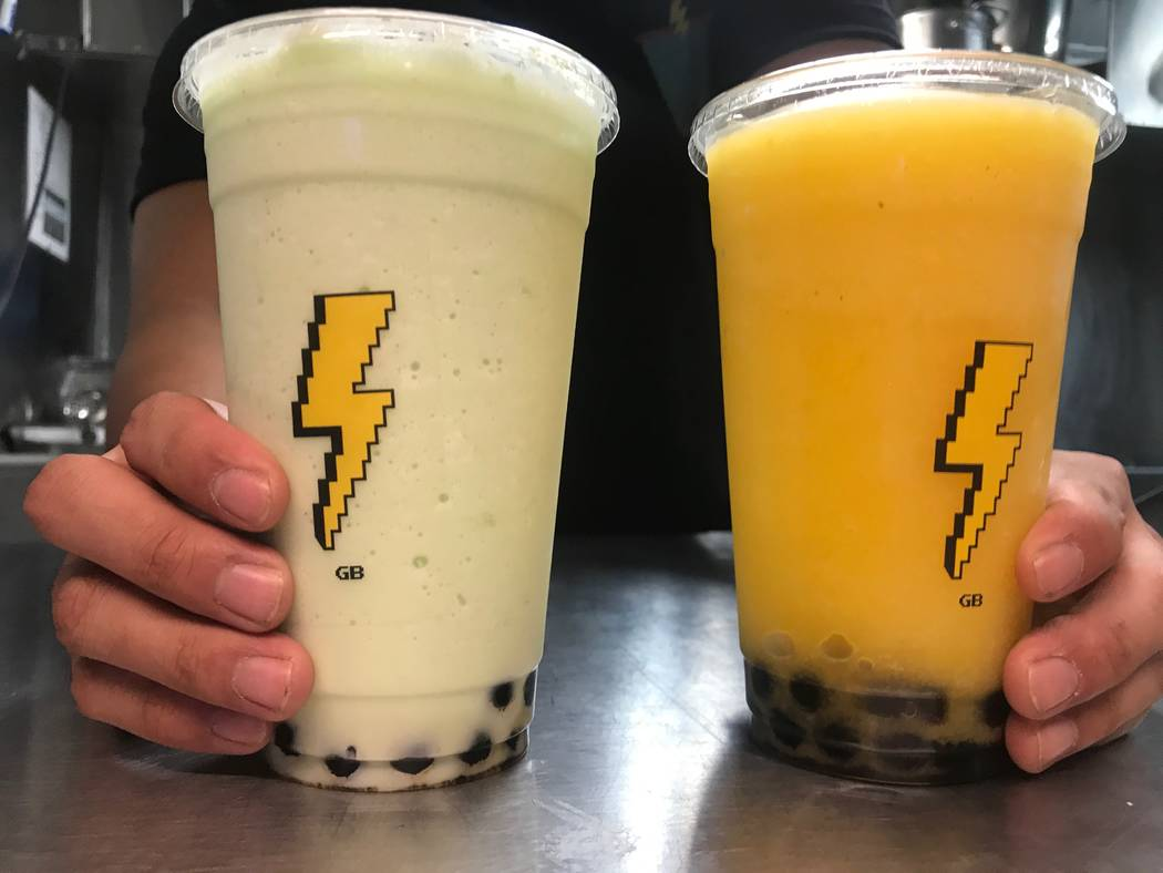 A Blitz Boba honeydew and a mango smoothie served on on Sept. 17, 2017 at a food truck event at Findlay, 7500 W. Azure Drive. (Kailyn Brown/View) @KailynHype